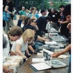 Band members signing outside HOF